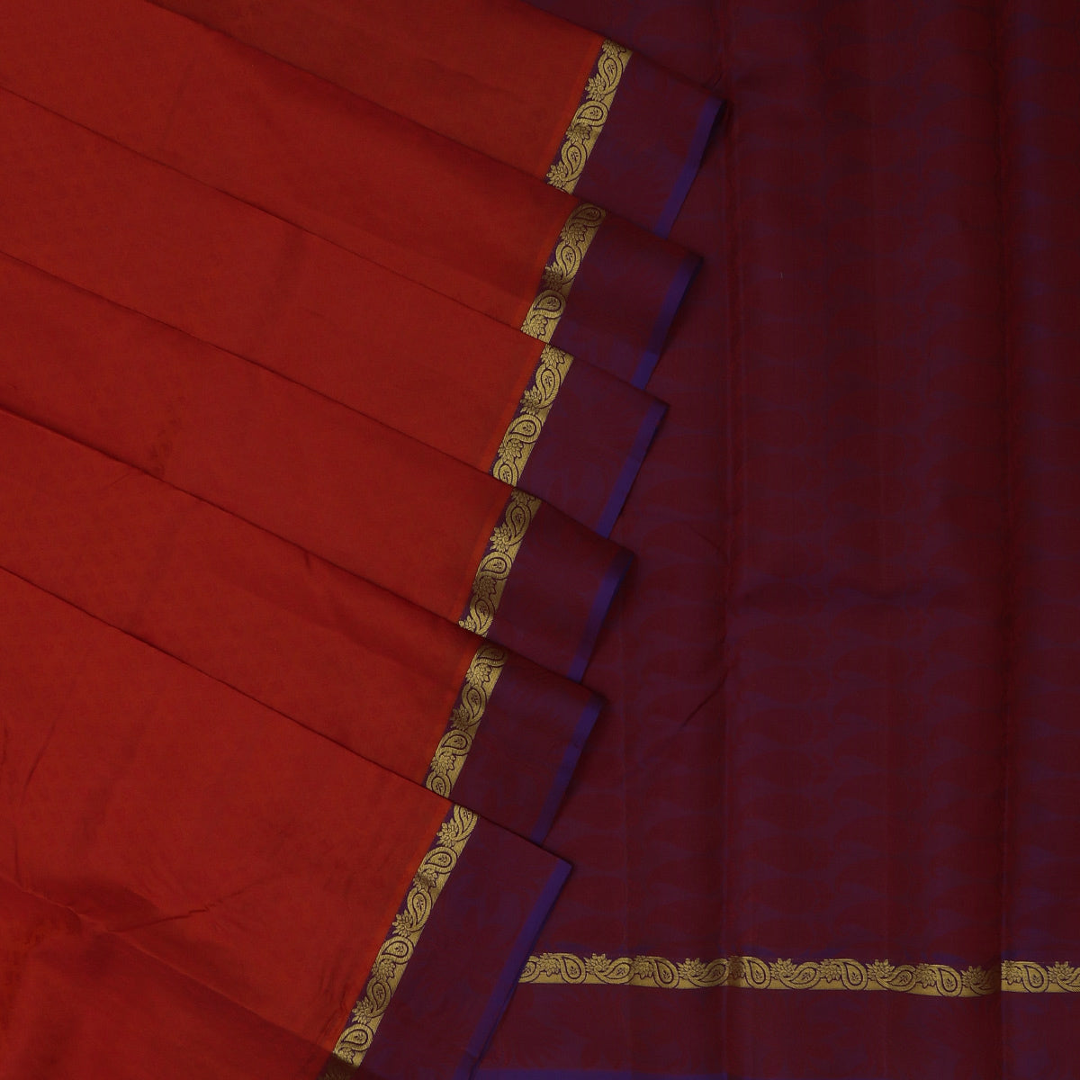 Pure Silk Saree Orange shade and Violet with Emboss and Mango Zari border
