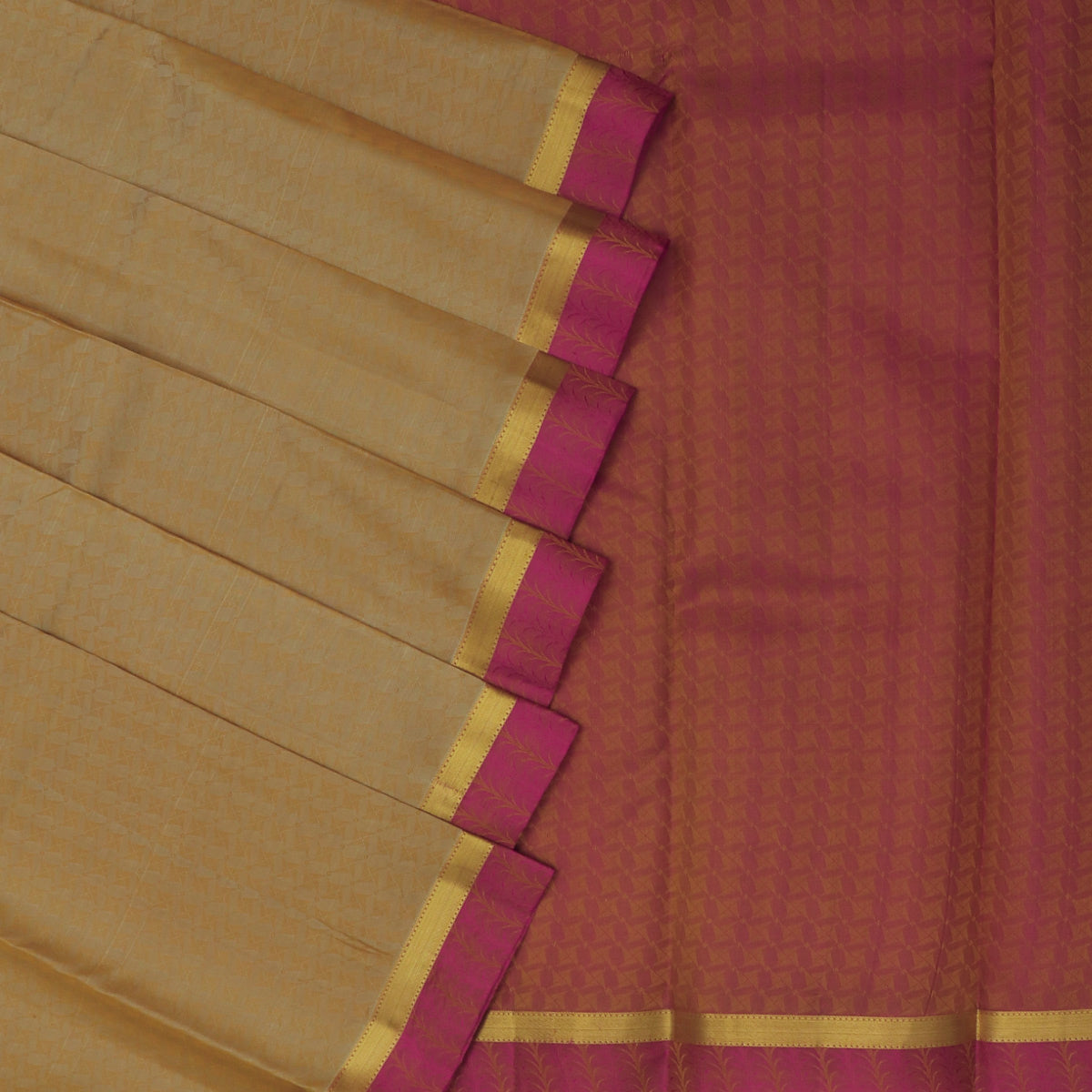 Pure Silk Saree Chikoo and Pink with Emboss and Floral Zari border