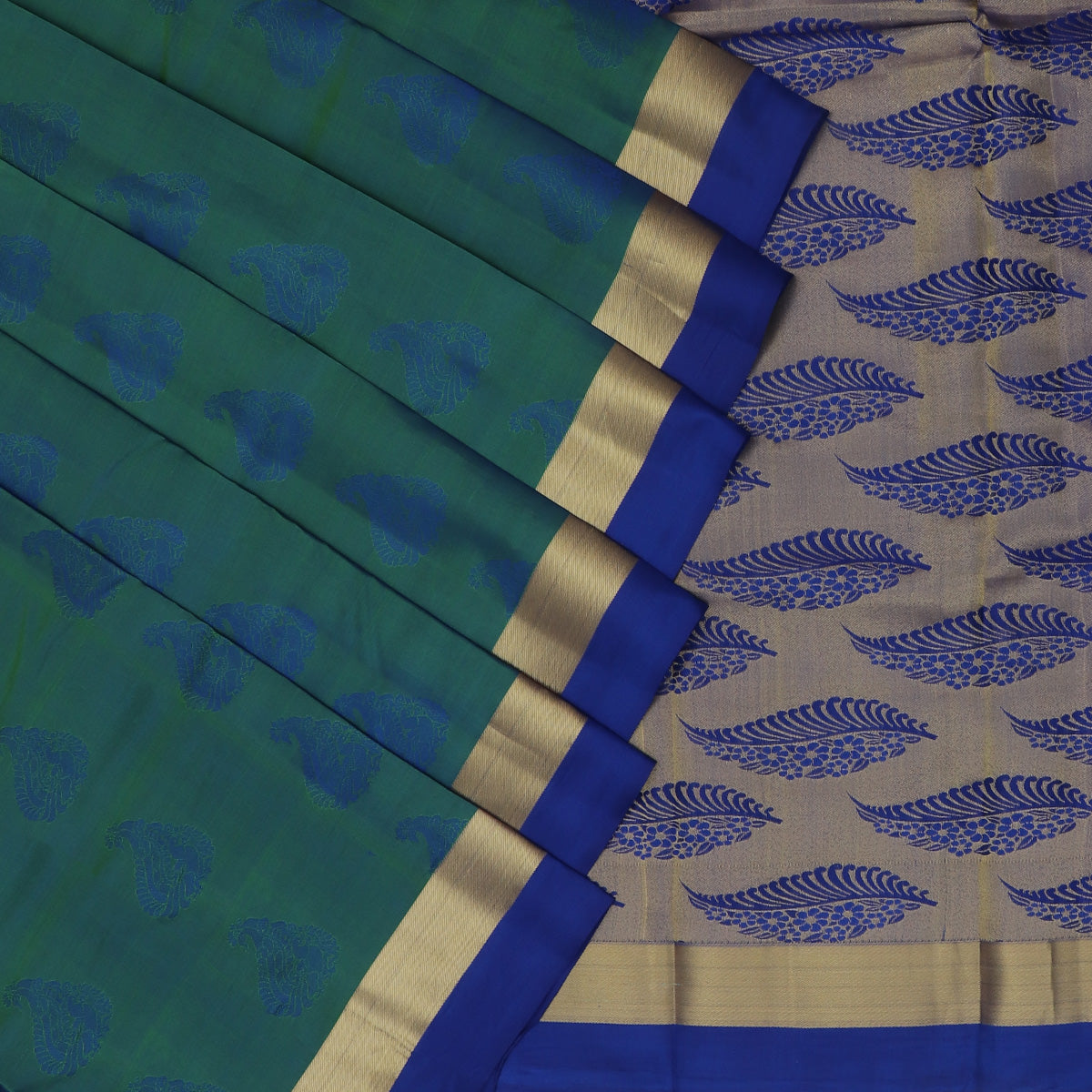 Pure Silk Saree Peacock Blue and Pink with Butta and Simple Zari border