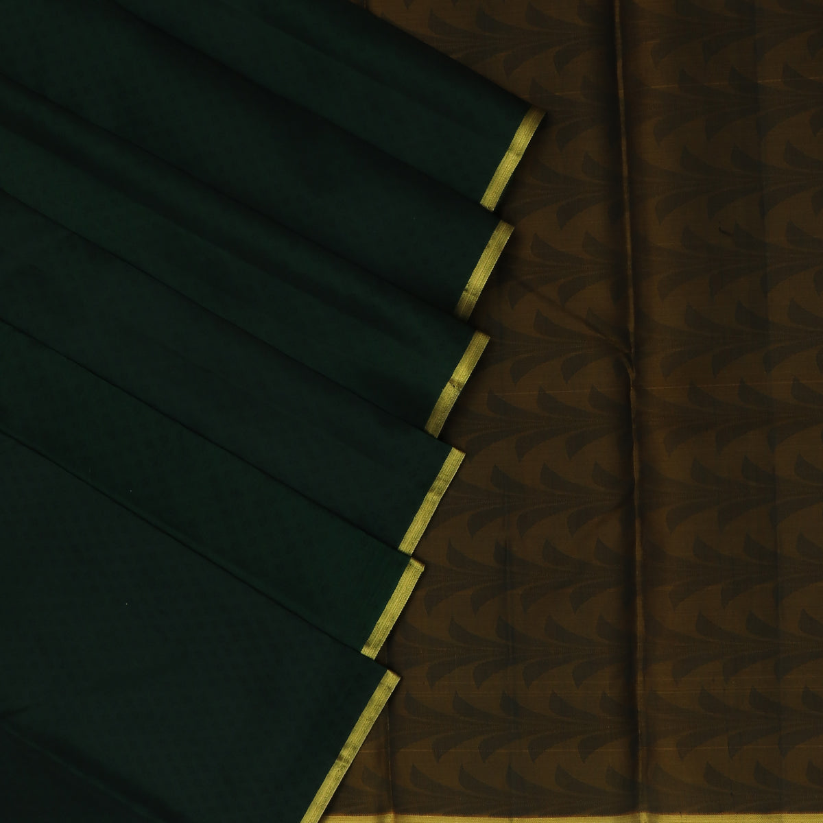 Pure Silk Saree Dark Green with Emboss and Simple Zari border