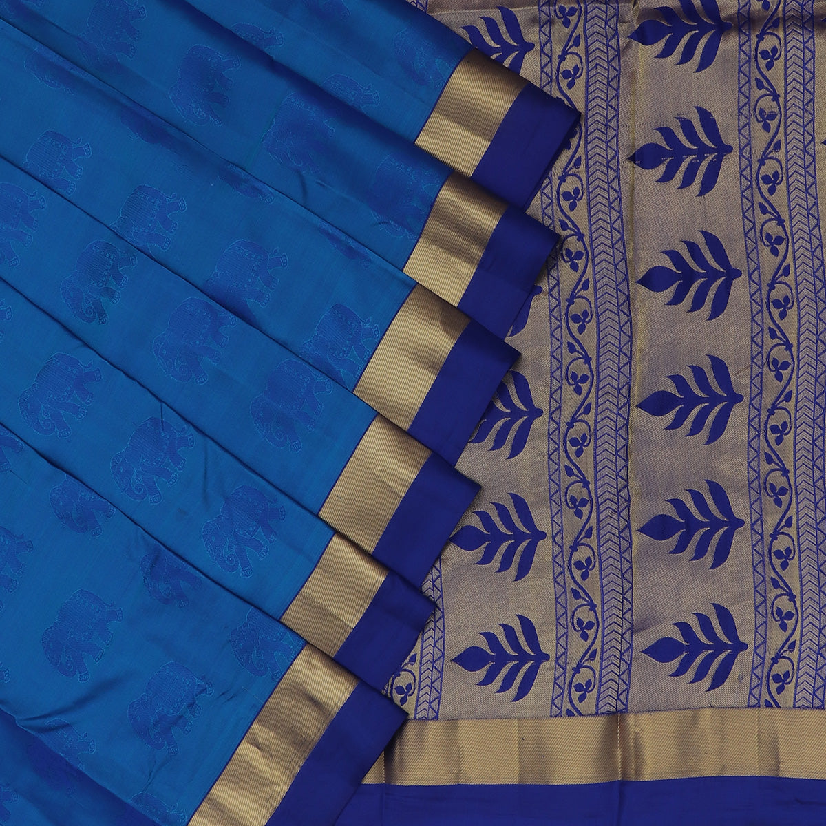 Pure Silk Saree Sky Blue and Blue with butta and Simple Zari border