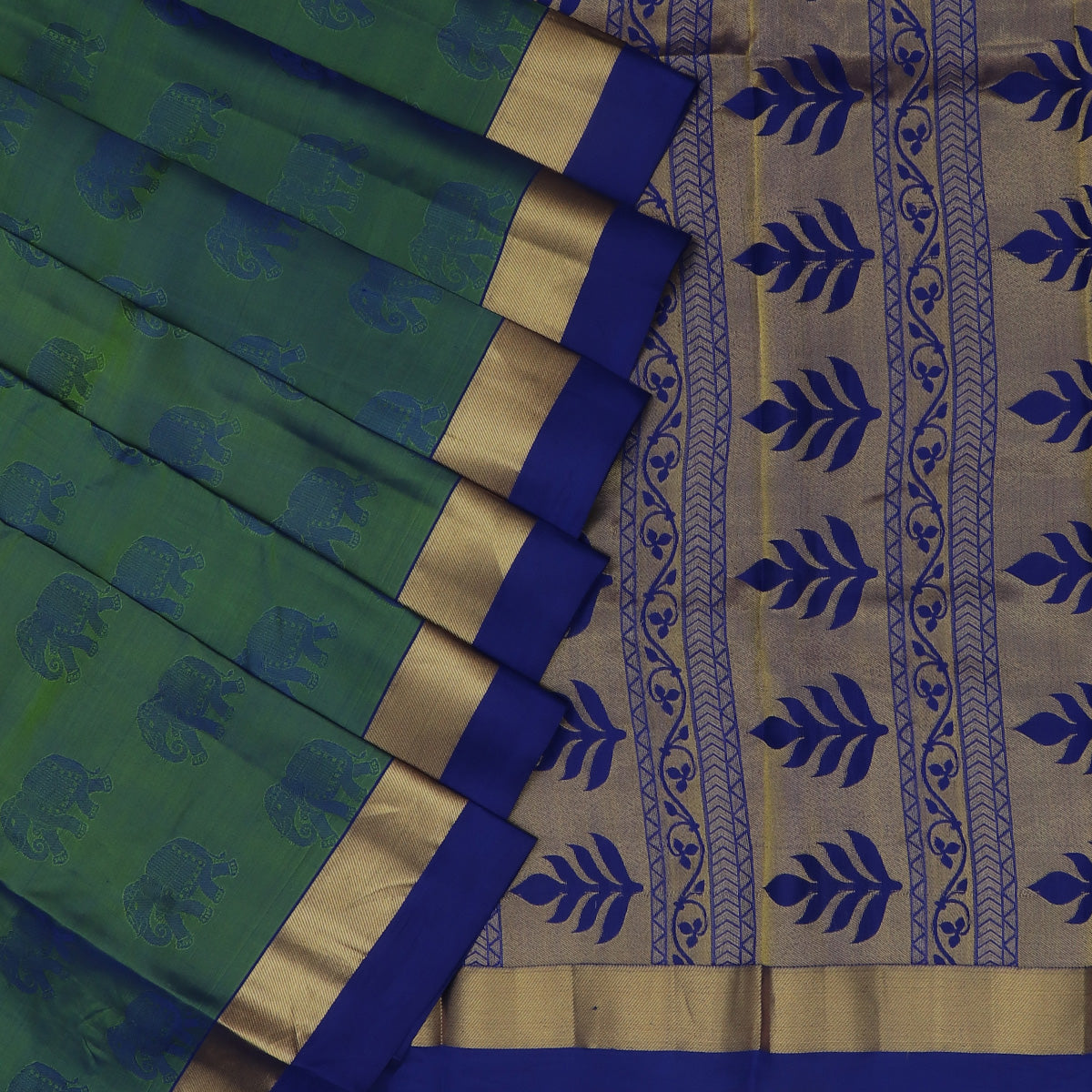 Pure Silk Saree Peacock Green and Blue Dual shade with Butta and Simple Zari border
