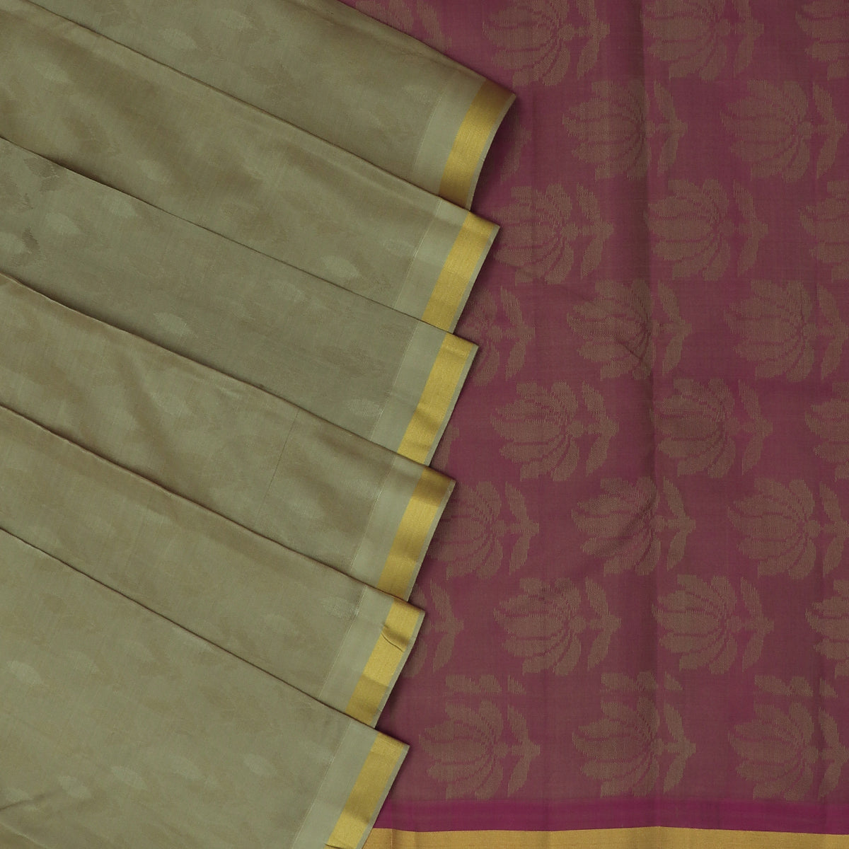 Pure Silk Saree Chikoo and Pink with Emboss and Simple Zari border