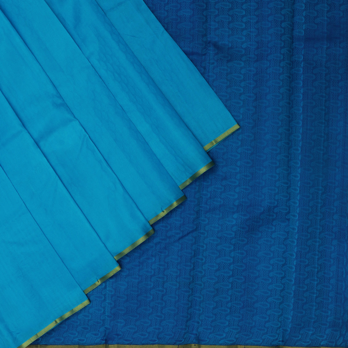 Pure Silk Saree Sky Blue and Blue with Emboss and Simple Zari border