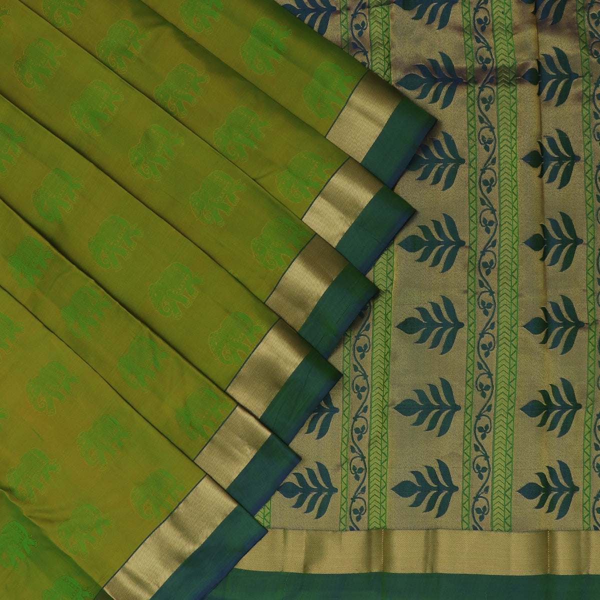 Pure Silk Saree light Green and Blue Dual shade with Emboss and Simple Zari border