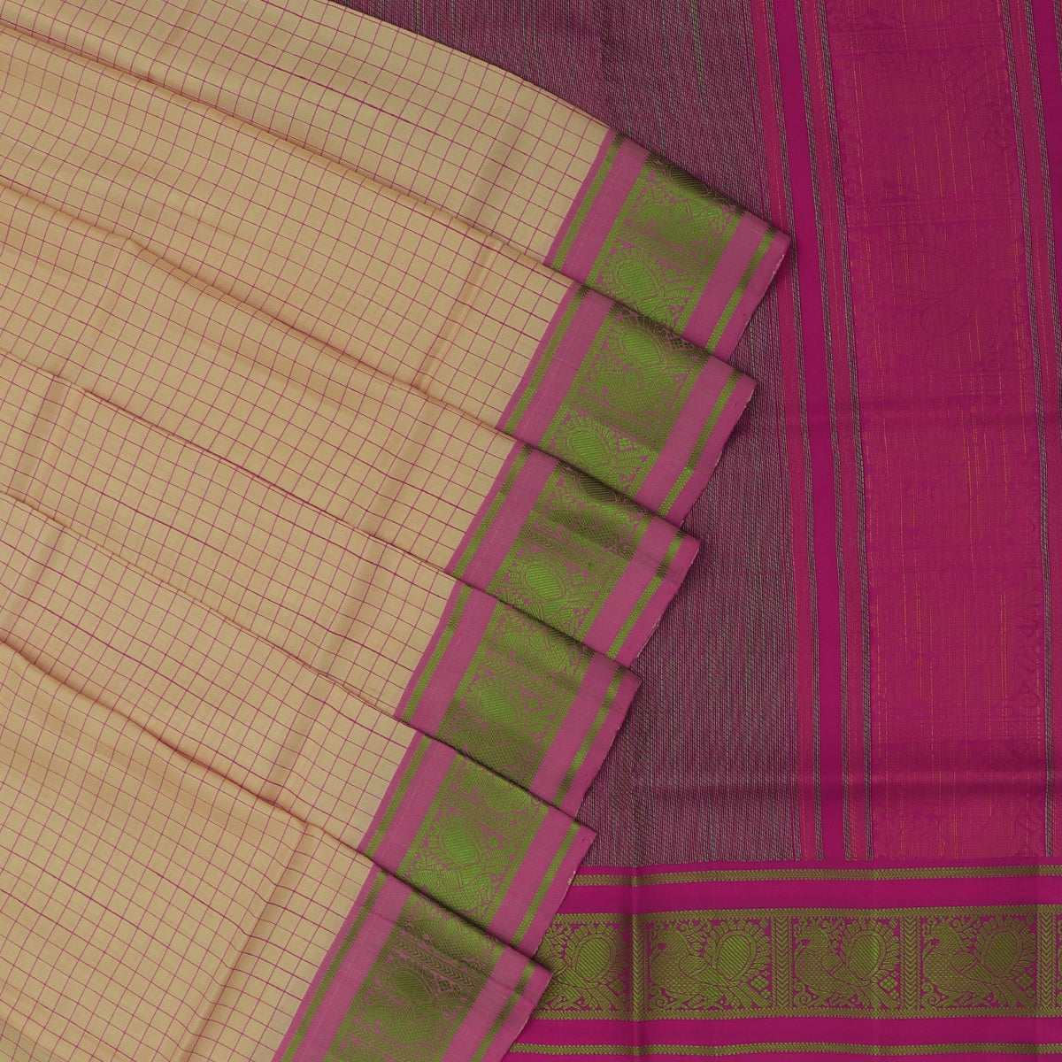 Soft Silk Saree Chikoo and Pink with Small Checked and Annam border