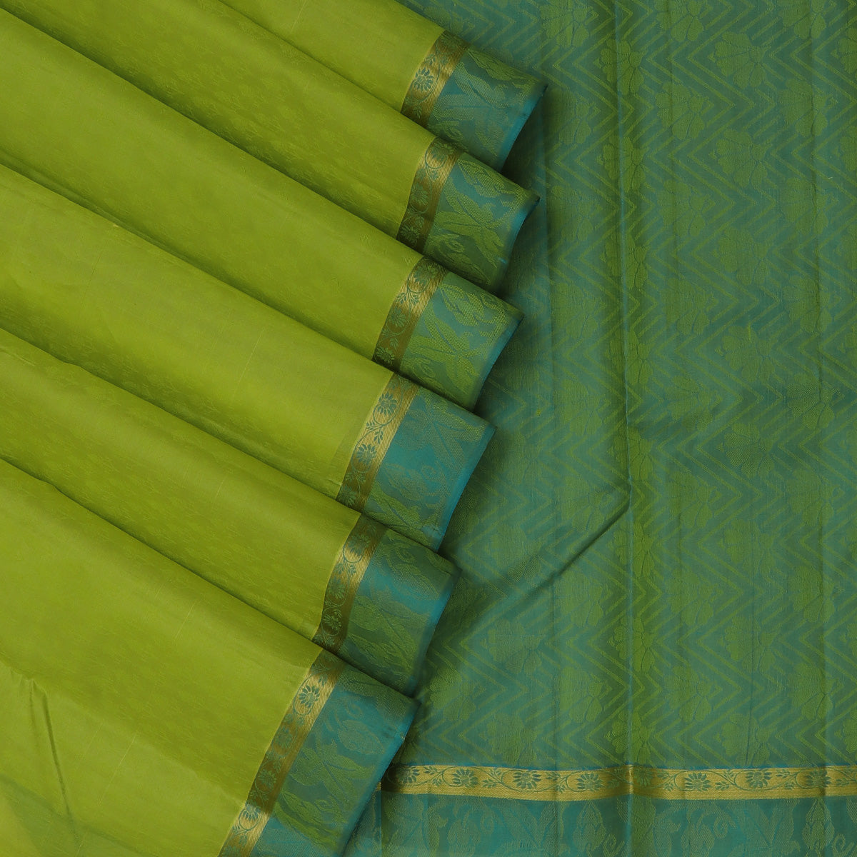 Pure Silk Saree Pista Green with Emboss and Floral Zari border
