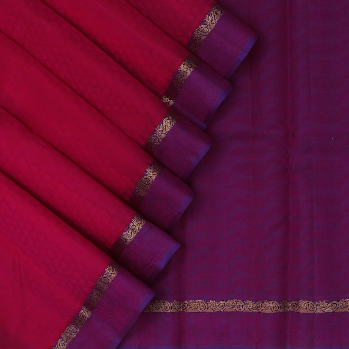 Pure Silk Saree Pink and Violet Dual shade with Emboss and Mango Zari border