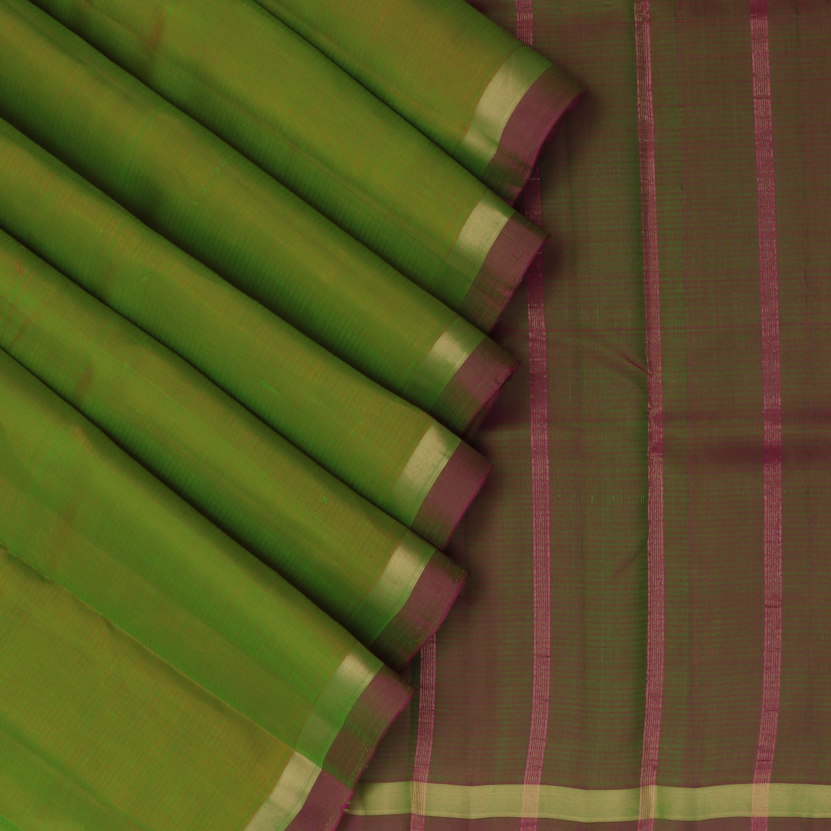 Pure Silk Saree Mehandi Green and Pink Dual shade with Simple Zari border