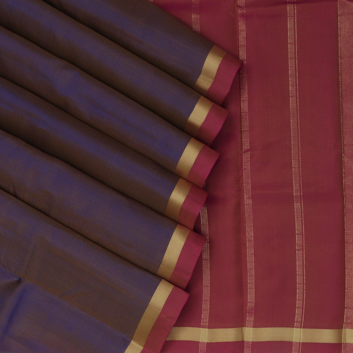 Pure Silk Saree Blue and Pink with Simple Zari border