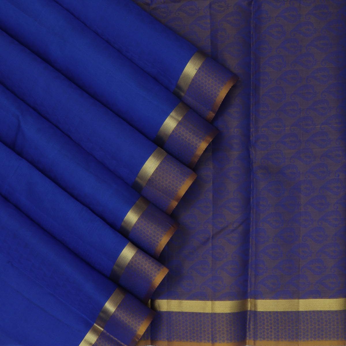 Pure Silk Saree Blue and Golden Color with Emboss and Simple Zari border