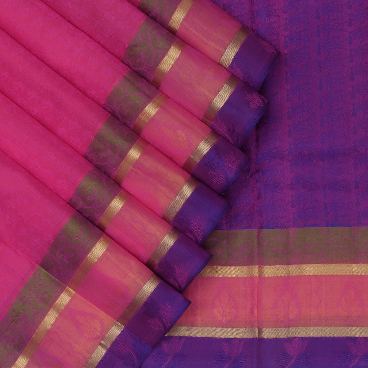 Pure Silk Saree Pink and Orange with Emboss and Simple Zari border