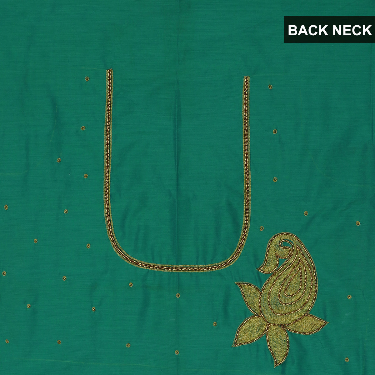 Blouse Material - Silk Cotton Sea Green with Embroidery work