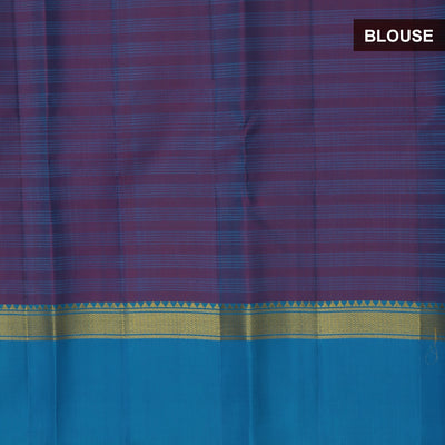 kanjivaram Silk Saree Peacock Green and Purple with Simple Zari border