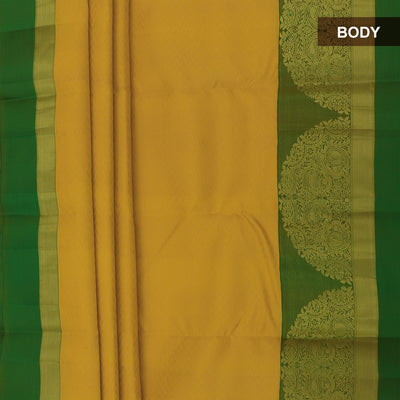 kanjivaram Silk Saree Yellow and Green with Emboss and Floral Zari border