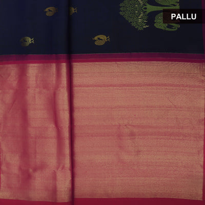 kanjivaram Silk Saree Blue and Pink with Elephant border