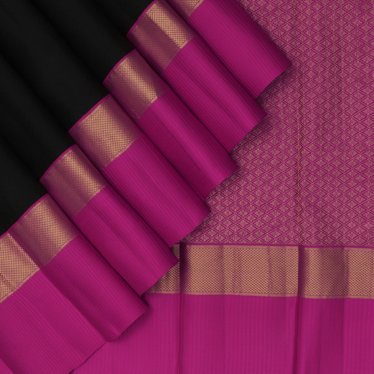kanjivaram Silk Saree Black and Pink with Emboss and Simple Zari border