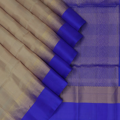 Soft Silk Saree Sandal and Blue with Simple Zari border