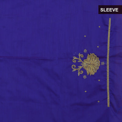 Blouse Material - Silk Cotton Blue with Embroidery work for Rs.Rs. 1400.00 | Blouse by Prashanti Sarees