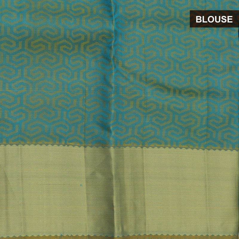 kanjivaram Silk Saree Blue Shade and Green with zari border
