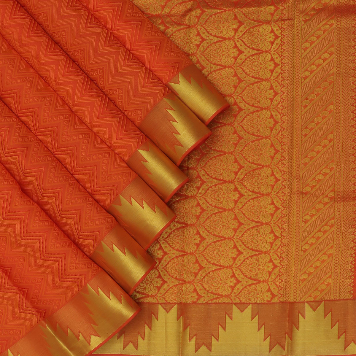 kanjivaram Silk Saree Brick Orange with Temple zari border