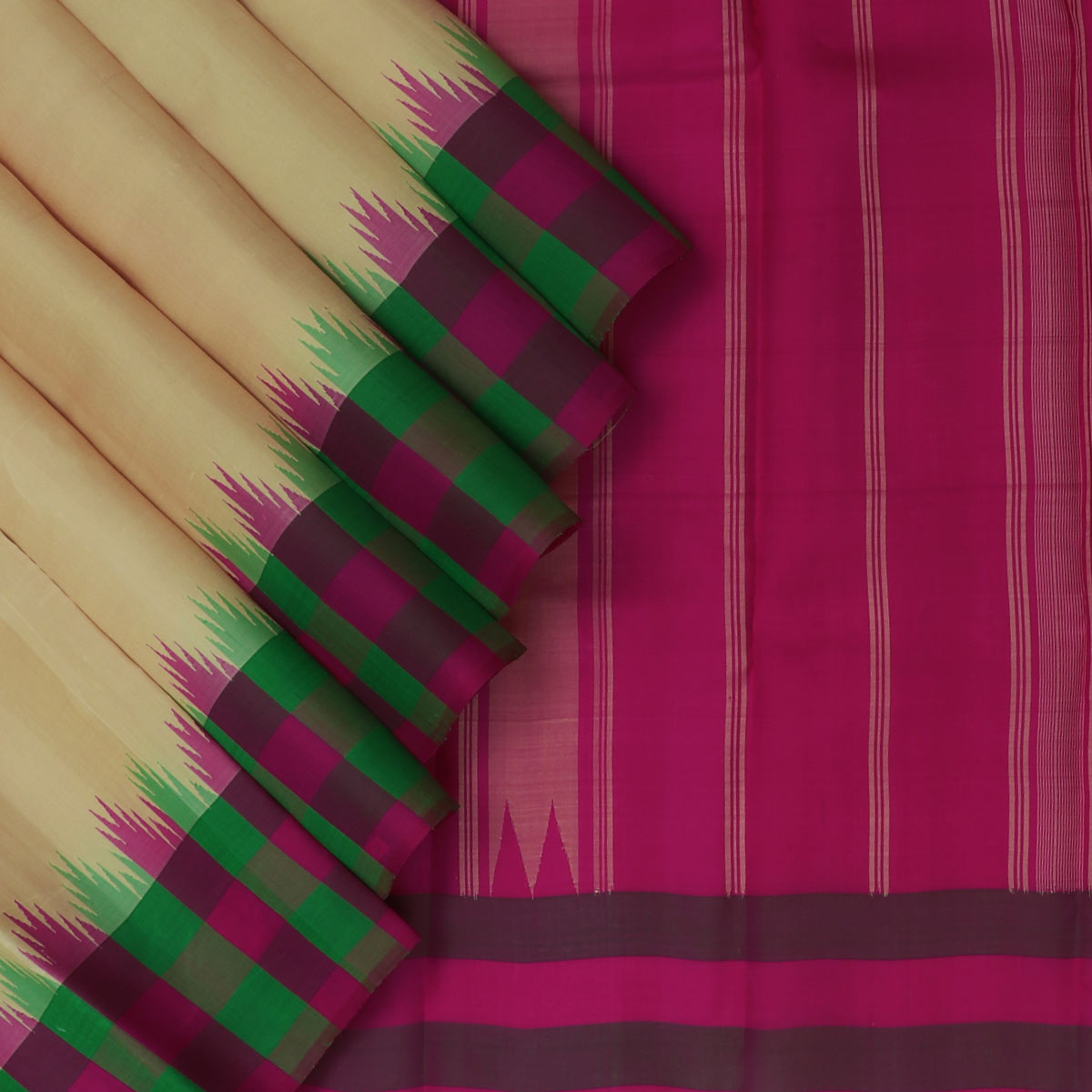 kanjivaram Silk Saree Sandal and checked Pink withGreen and Temple border
