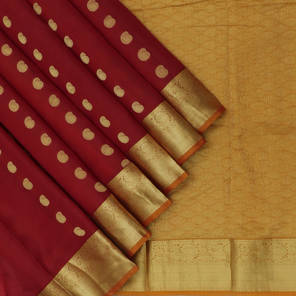 kanjivaram Silk Saree Maroon and Mustard with Mango butta and Annam zari border
