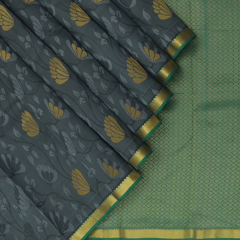 kanjivaram Silk Saree Grey and Green withTemple border