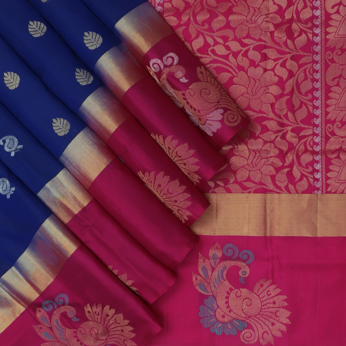Soft Silk Saree Blue and Pink with Butta and Annam Zari border