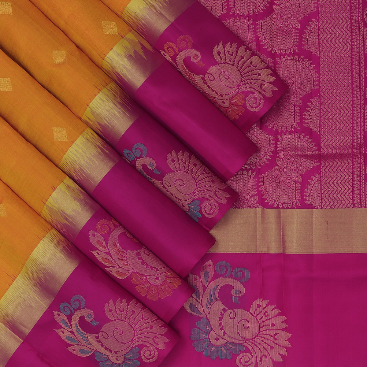 Soft Silk Saree Yellow and Pink with Butta and Annam Zari border