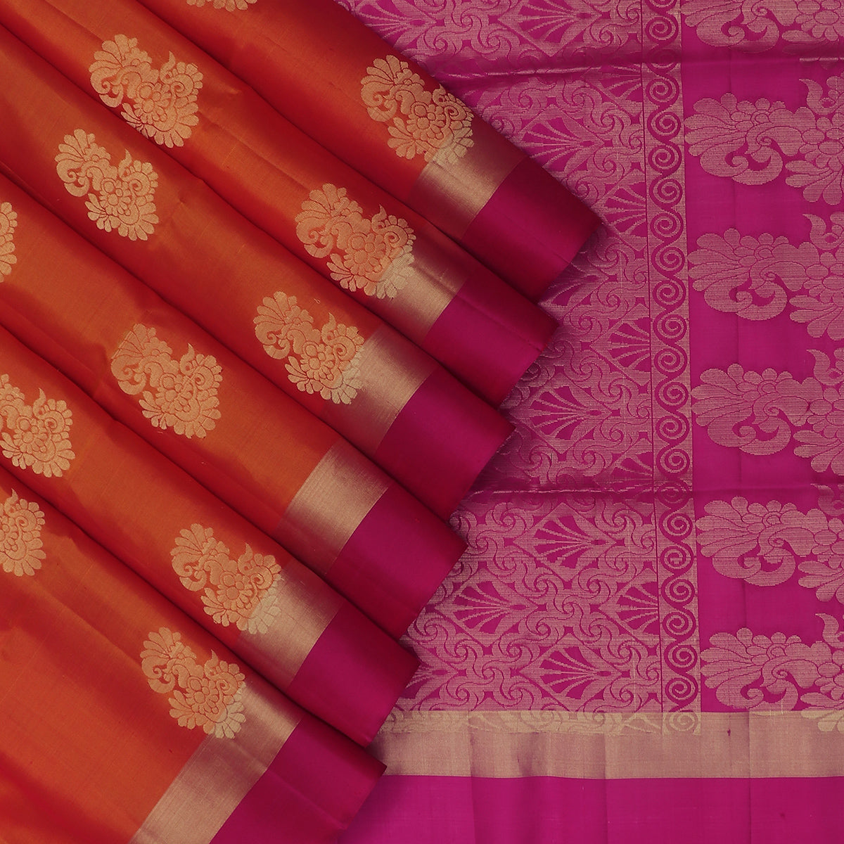 Soft Silk Saree Honey Color and Pink with Butta and Zari border