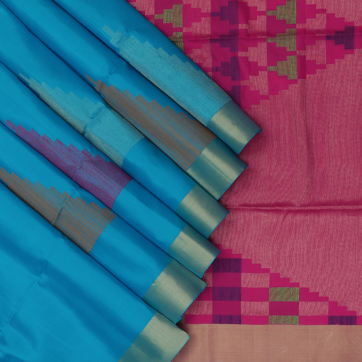 Soft Silk Saree Sky blue and Pink with Butta and Zari border