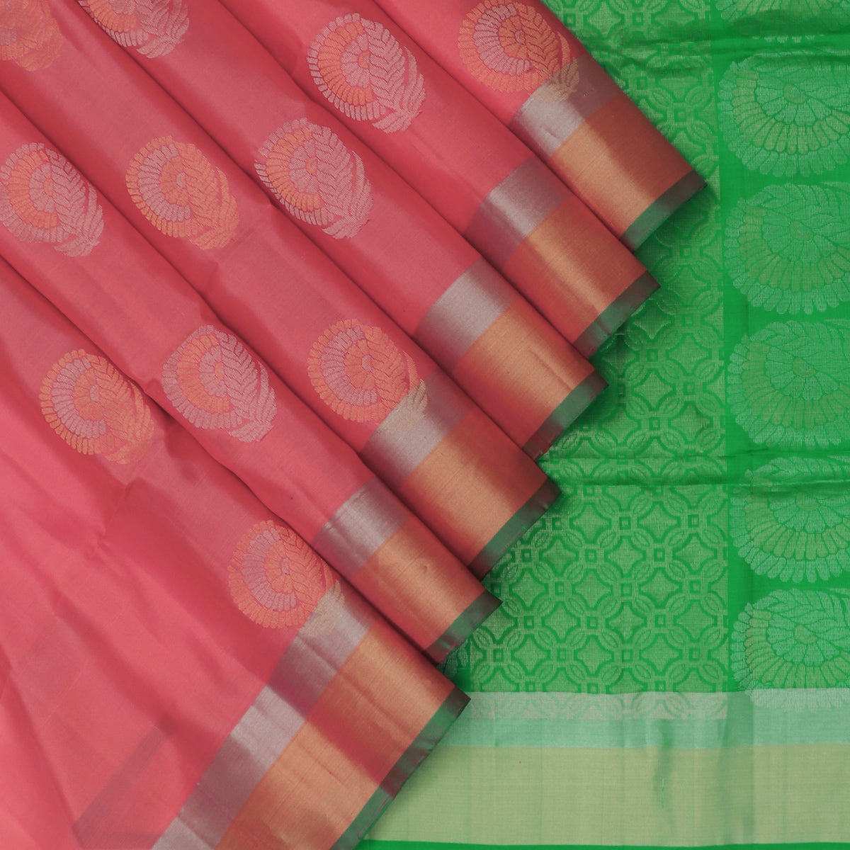 Soft Silk Saree Red shade and Green with Butta and Zari border