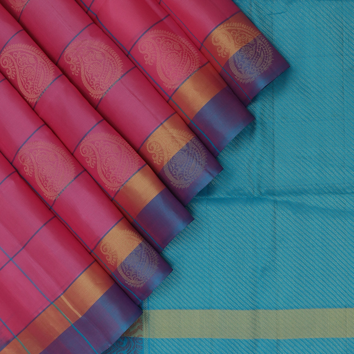 Soft Silk Saree Pink with Sky Blue Line and Butta and simple zari border