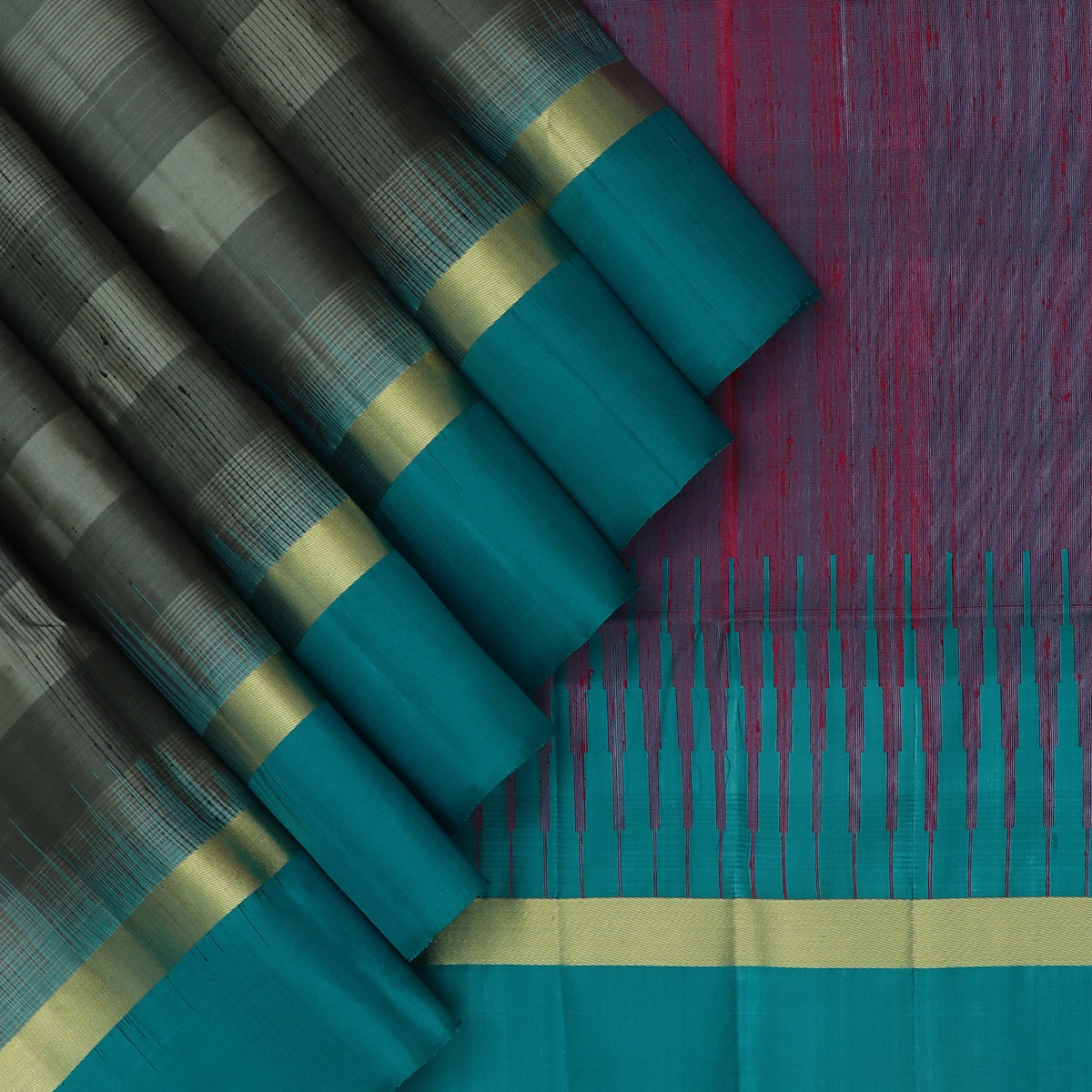 Soft Silk Saree Grey and Peacock Blue with Simple zari border