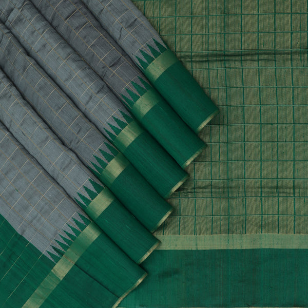 Jute Silk Saree Grey and Dark Green with Temple and zari border for Rs.Rs. 5530.00 | Silk Sarees by Prashanti Sarees