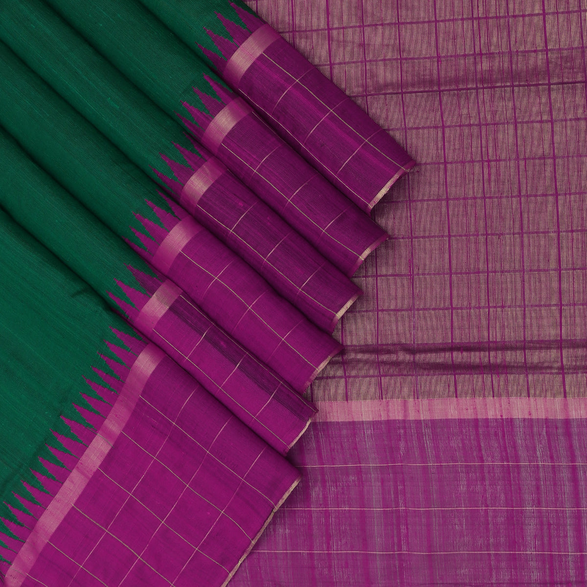 Jute Silk Saree Dark Green and Pink with Temple and Zari border