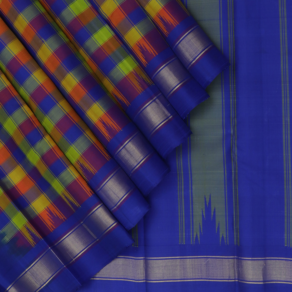 kanjivaram Silk Saree Multi Color with Small Checked and Blue with Zari and Temple border