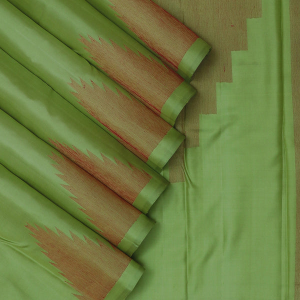 Soft Silk Saree Olive Green with Temple Border