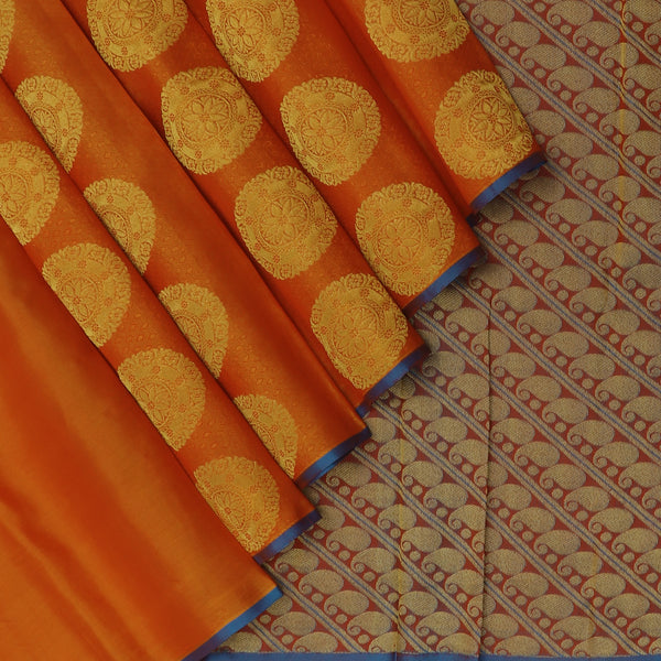 Soft Silk Saree Brick Orange with buttas