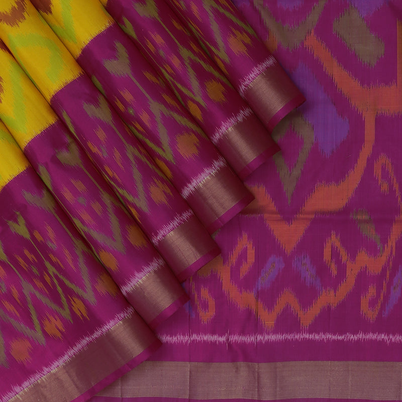 Pure Silk Saree Yellow and Pink with ikkat design and Zari Border