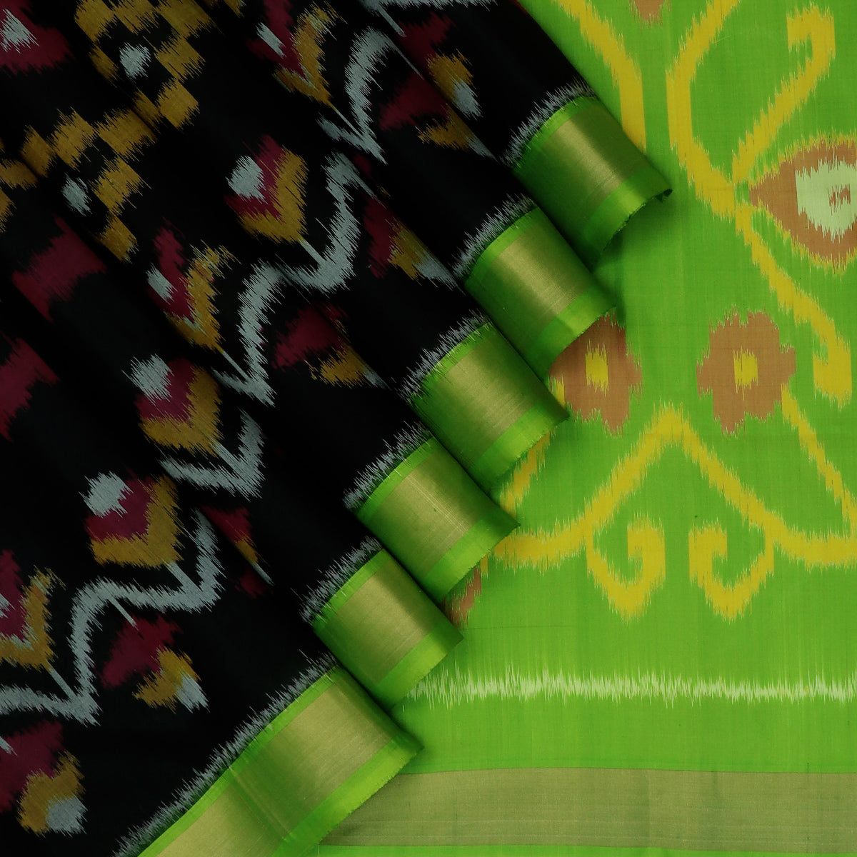 Pure Silk Saree Black and Green with Ikkat design and  Zari border