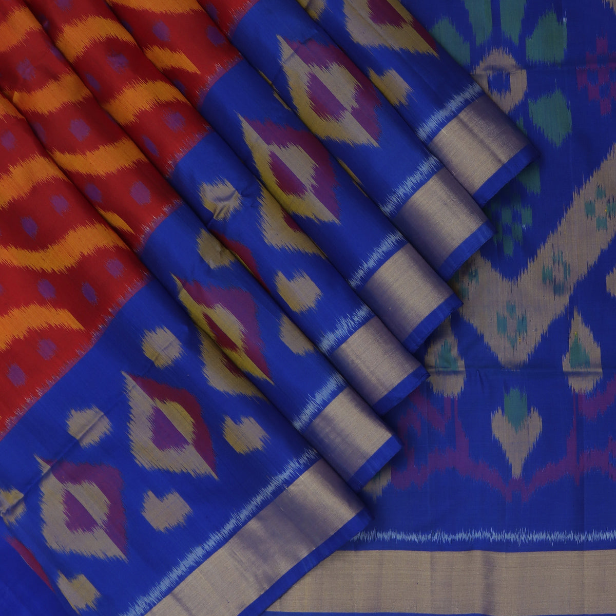 Pure Silk Saree Maroon and Blue with Ikkat design and Zari border