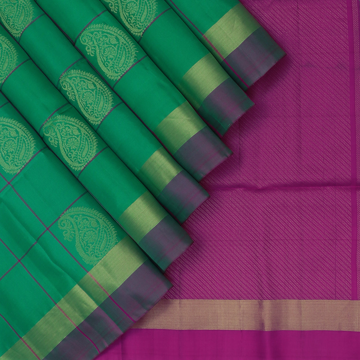 Soft Silk Saree Jade Green and Magenta with Mango Motif and Zari border