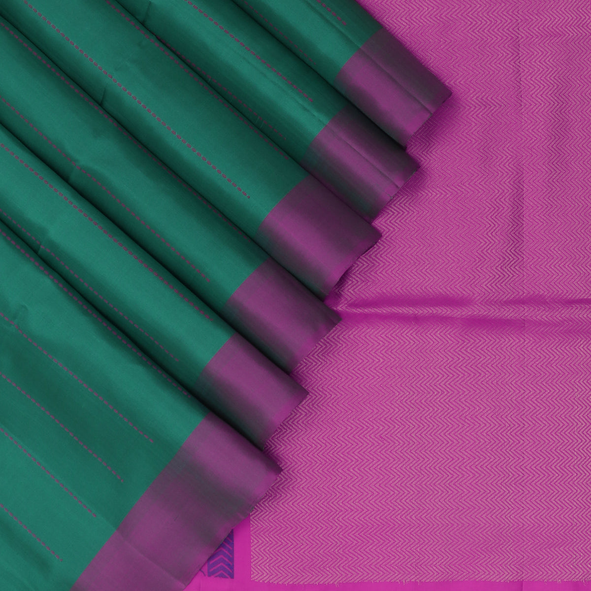 Soft Silk Saree Jungle Green and Pink with Simple Border