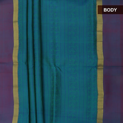 Soft Silk Saree Dual shade of Green and Blue with Thread embose and Zari Border
