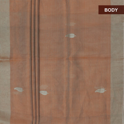 Tissue Silk Saree Cantaloupe Orange with Silver Zari border