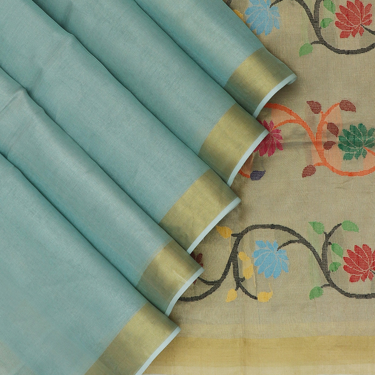 Tissue Silk Saree Powder Blue with Zari border