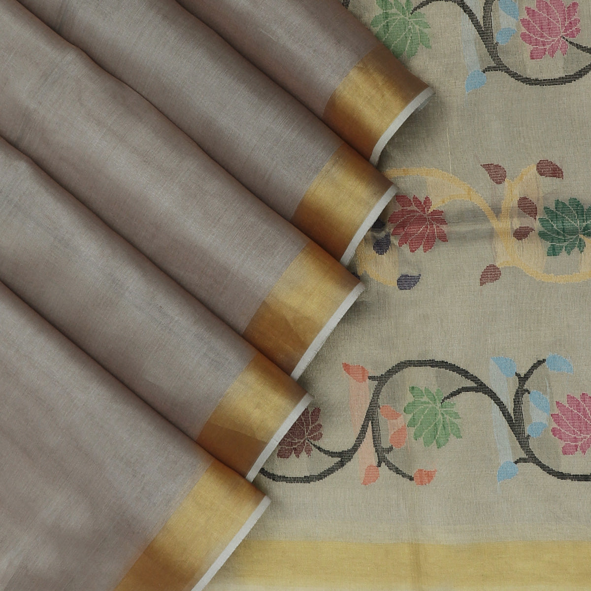 Tissue Silk Saree Tortilla Brown with Zari border