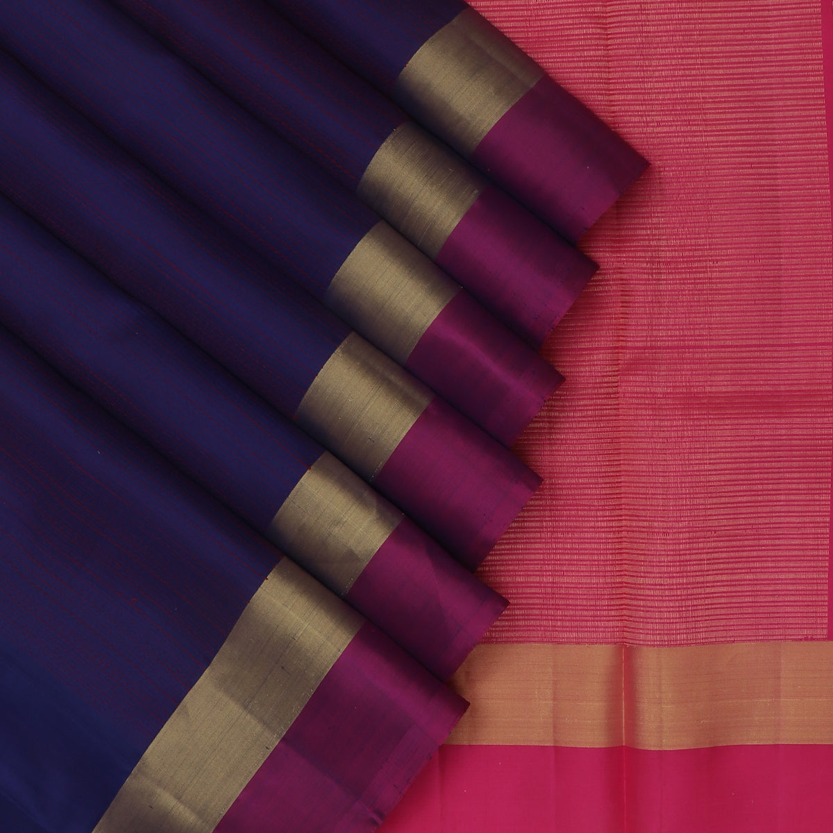 Soft Silk Saree Berry Blue with Red Thread line and Pink with Zari border